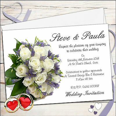 50 Personalised Elegant Bouquet Wedding Invitations Invites Day or Evening N35*