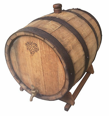 25L American Oak Barrel for Spirits / Port Barrel Solid Brass Tap Black Hoop