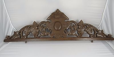 "33"" Antique French Hand Carved Pediment Panel 19 th - Solid Oak Grapes"