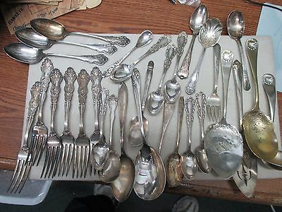 Silver Plate Flatware 32 Pieces Craft Lot Only For Rings Bracelets Pendants