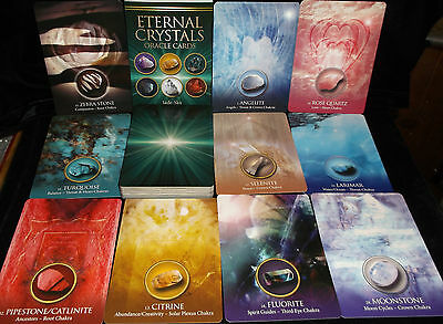Brand New! Eternal Crystals Cards & Book Oracle Healing Qualities Open For Pics