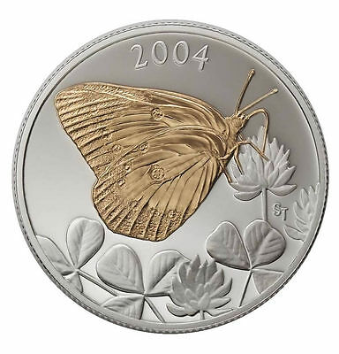 2004 Canada 50 cent Coloured Coin - Clouded Sulphur