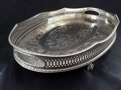 Fine Quality Sheffield Silver On Copper Footed Gallery Tray BirdClaw Feet c.1920