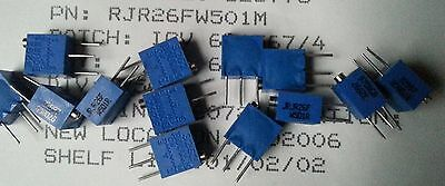 3pcs BOURNS 3262 RJR26FW501M 500Ohm 10% 1/4W 1% 12 Turn 1.78mm Trimmer Resistors