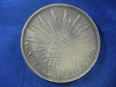 MEXICO - 1900Zs FZ Cap & Ray silver PESO CROWN - uncleaned original - VF-XF