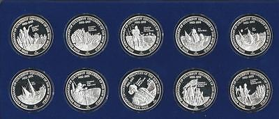 TURKS & CAICOS - 1989 Sterling silver 10pc set - Discovery of America - PROOF