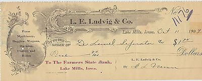 1909 Check ~ L.E. Ludvig & Co. Lake Mills, Iowa ~ The Farmers State Bank ~ $1.75