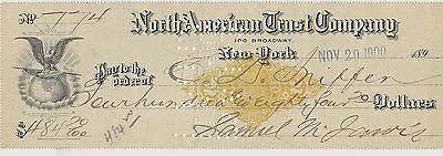 1900 Check ~ North American Trust Company, 100 Broadway New York. ~ $484.20