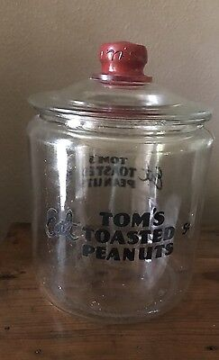 Tom's gallon embossed jar Red paint glass lid Lance Planters Toasted Peanuts Vtg