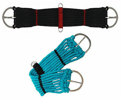 "Western Pony Mini Horse Saddle Rope Girth Cinch Black Or Turquoise 18"" Or 20"""
