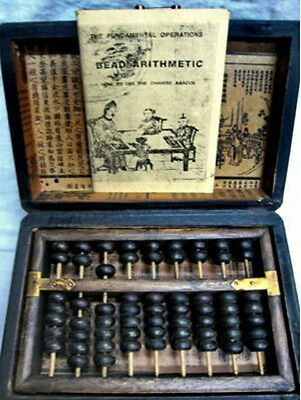 Chinese Abacus Old Counting Frame Dragon Phoenix Leather Box 9 Columns