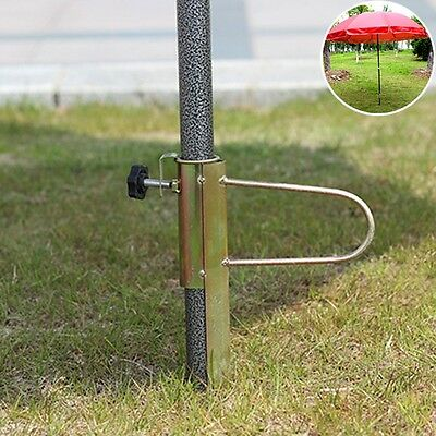 Pop Ground Spike Outdoor Parasol Umbrella Banner Flag Pole Iron Standing Holder