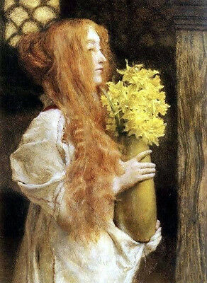 Oil painting Lawrence Alma-Tadema Young girl holding yellow flowers Hand painted