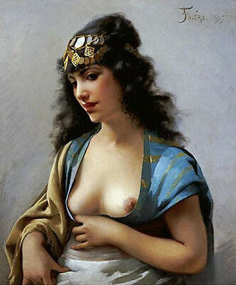 Oil painting luis ricardo falero - female portrait nice young woman Hand painted