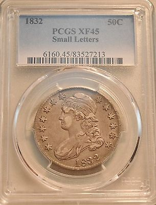 1832 50C PCGS XF 45 Capped Bust Silver Half Dollar, Higher Grade, Small Letters