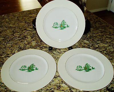 3 Narumi ORIENTAL CREAM Dinner Plates ~ Brown Pagoda, Green Foliage, Gold Trim