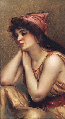 nude young female with flowing chiffon canvas Oil painting luis ricardo falero