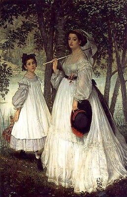 Oil painting Tissot James French - Portrait of the Two Sisters Hand painted