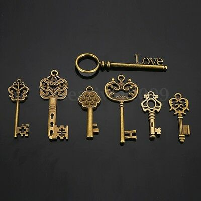28 Antique Big Vtg old look Ornate Skeleton Keys Pendant Fancy Heart Bow Favors