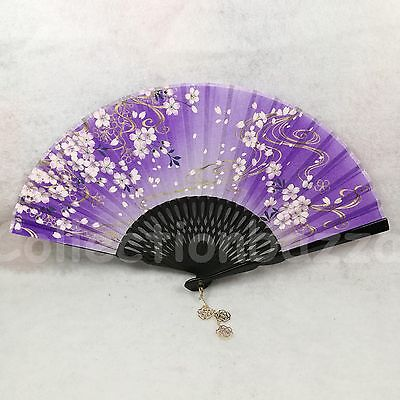 Top Class Purple Chinese Bamboo Folding Floral Hessian HAND FAN for Wedding Gift