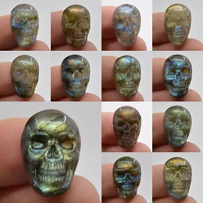 22-23mm  Carved natural stone labradorite skull cab cabochon *each one picture*
