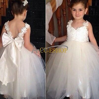 Flower Girls Princess Wedding Birthday Party Pageant Dance Formal Kid Dress 4-14