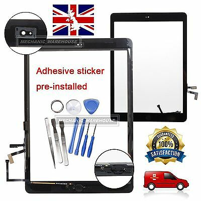 For iPad Air 5 Black Touch Screen Digitizer Front Glass Lens Flex Home Button UK