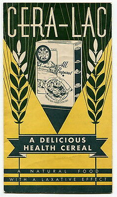 """Old Sales Brochure: """"CERA-LAC"""" Health Cereal """"With a Laxative Effect"""""""