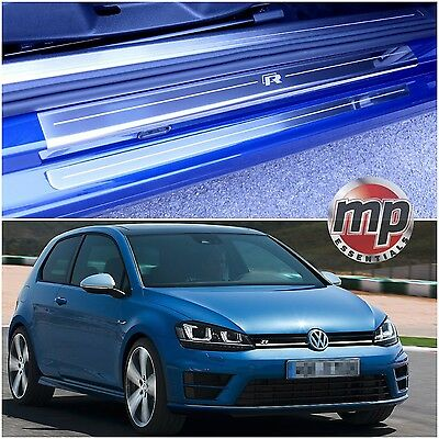 VW Golf Mk7 13> (R) 3dr Stainless Steel Kick Plate Car Door Sill Protectors 4pce