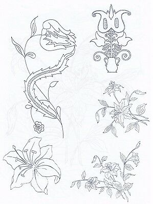 Mixed Flowers & Lily ~ Iron-on Embroidery Transfer Pattern 11