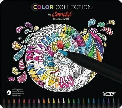 BIC - Conte Assorted Wood Free Bright Colouring Drawing Pencils | Pack of 24