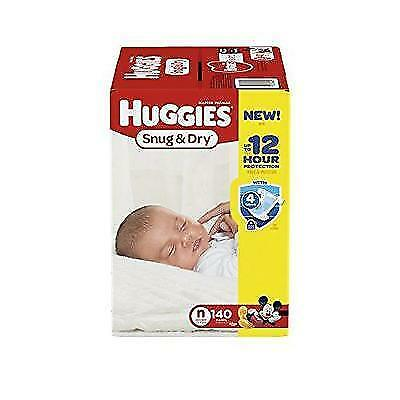 HUGGIES Snug & Dry Diapers, Size Newborn, 140 Count New