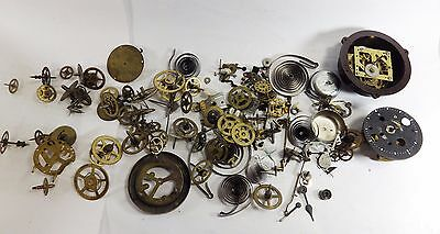 Large Lot of Vintage Clock Parts - Spares / Steampunk / Crafts