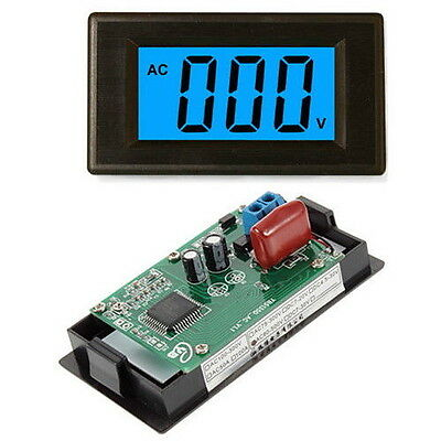 2-wire 3 1/2 Digital Blue LCD AC 80-500V Volt Panel Meter voltage power supply