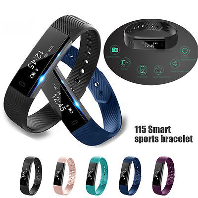 ID115 Smart Wristband Heart Rate Bracelet Watch Bluetooth Fit Activity Tracker
