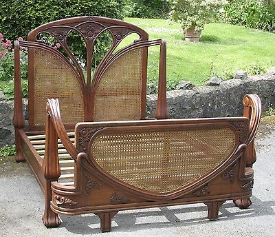 Mahogany 5' King Size Art Nouveau French Style Mahogany Rattan Bed New Louis