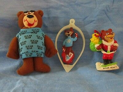 3 Sugar Bear Cereal Advertising, Plush and Two Christmas Ornaments