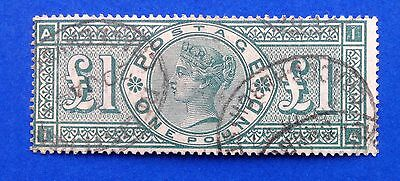 GB Queen Victoria Surface Printed 1891 £1.00 Green Used SG 212. (cat £800)