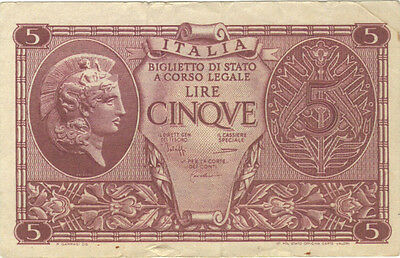 1944 5 Lire Italy Italian Currency Banknote Note Money Bank Bill Cash Europe Ww2