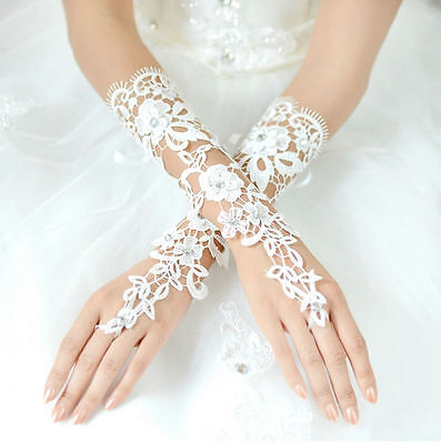 Women Lady Bridal Party Fingerless Lace Long Evening Prom Wedding Gloves White