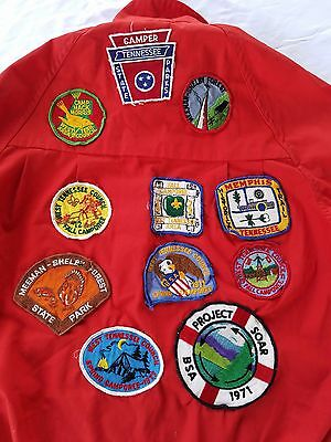 Vintage Official Boy Scout Red Jacket Many Tennessee Patches Mens Small 34-36