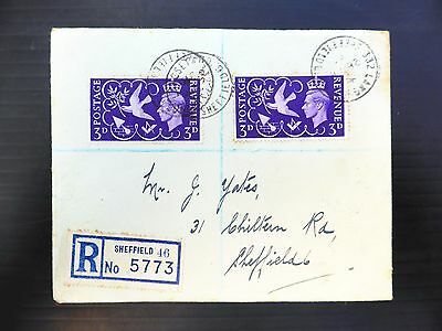 "GB 1946 Victory 3d on Registered Cover with ""Seven Berries"" Variety SG492a NB402"