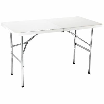 4FT Portable Folding White Trestle Table Heavy Duty Plastic Garden Party Camping
