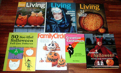 Lot Of 7 Halloween Magazines & Books ~ Country Living~Martha Stewart~Costumes+++