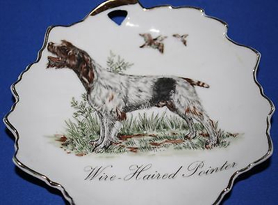 Vintage Wire Haired Pointer Hunting Dog Trinket Dish Gold Trim