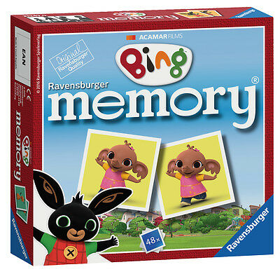 New! 21247 Ravensburger Bing Bunny Mini Memory Pairs Snap Card Game Children 3+