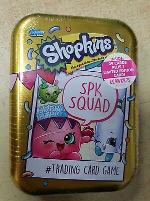 incl 3 packs + a limited edition Topps Shopkins Trading card game Mini tin