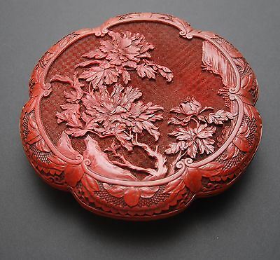 "19c CHINESE Cinnabar Carved Lacquer Box_Flowering Tree Landscape_9.75""_24.8cm"