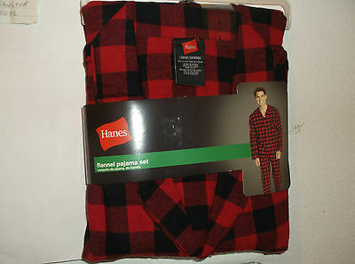 BRAND NEW MEN'S HANES COTTON FLANNEL PAJAMA SET in RED & BLACK PLAID
