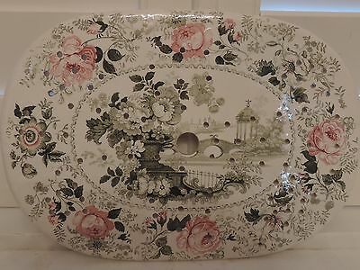 Antique Polychrome Green & Pink Transferware Meat Drainer Romantic China